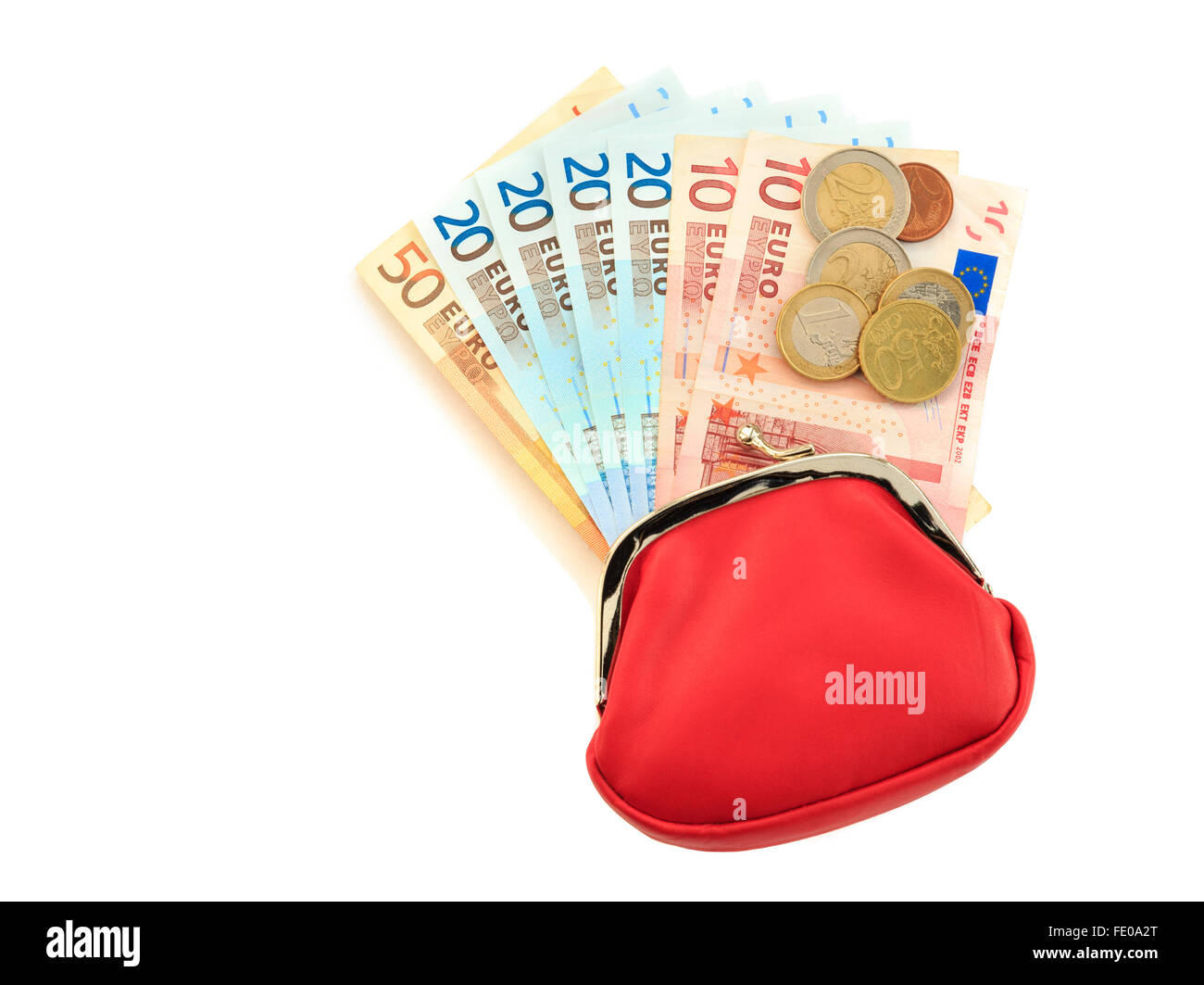 Red money purse containing fifty, twenty, ten Euro notes with some coins from Eurozone isolated on a white background - Stock Image