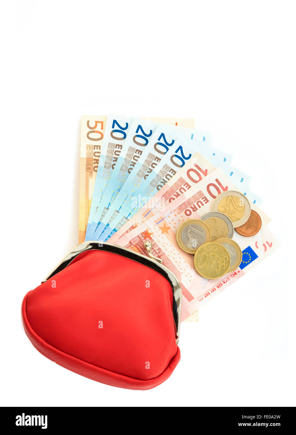 Red money purse containing fifty, twenty, ten Euro notes with some coins from Eurozone isolated on white from above. - Stock Image