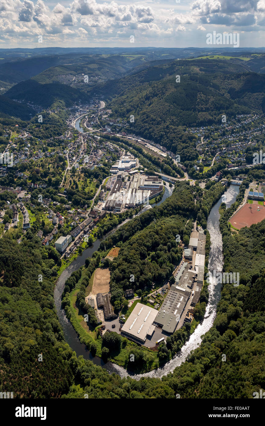 Aerial view, Lenne loop on giant trench overlooking Altena, Altena, Sauerland, North Rhine-Westphalia, Germany, - Stock Image
