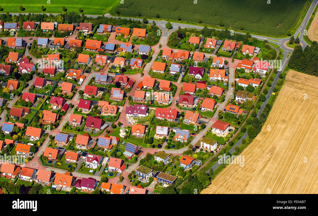 Aerial view, housing estate, brick buildings with red tile roofs, houses and semi-detached houses, gardens, Billerbeck, Stock Photo