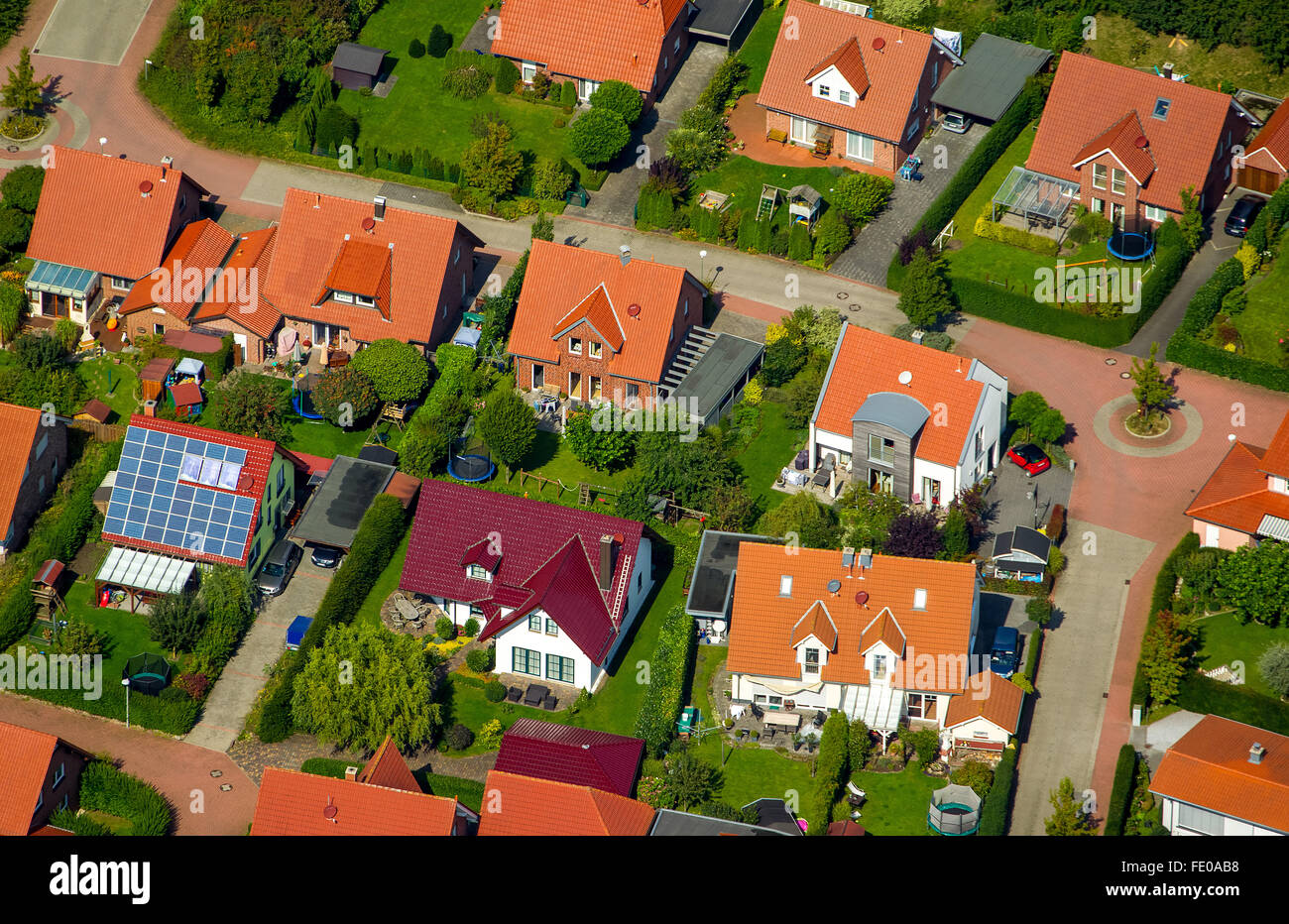 Aerial view, housing estate, brick buildings with red tile roofs, houses and semi-detached houses, gardens, Billerbeck, - Stock Image