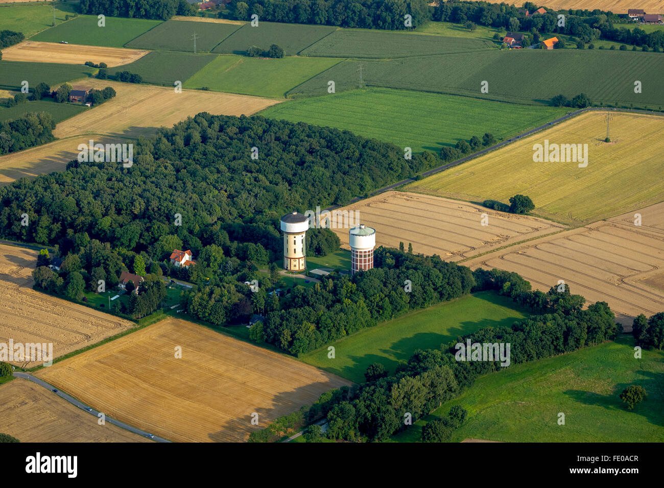 Aerial view, water towers mountains, water supply, drinking water, water infrastructure, Hamm, Ruhr, Nordrhein-Westfalen,Germany - Stock Image