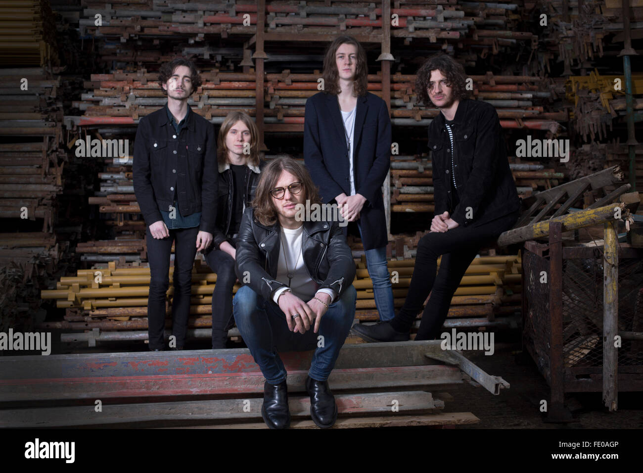 Stockport band Blossoms, pictured in a scaffolders' yard in the town. The guitar pop band have come fourth on - Stock Image