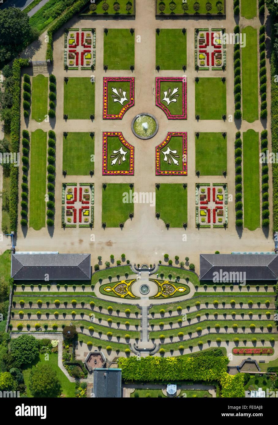 Aerial view, Kamp Monastery Kloster Kamp with terrace garden and monastery garden, baroque garden, Kamp-Lintfort, - Stock Image