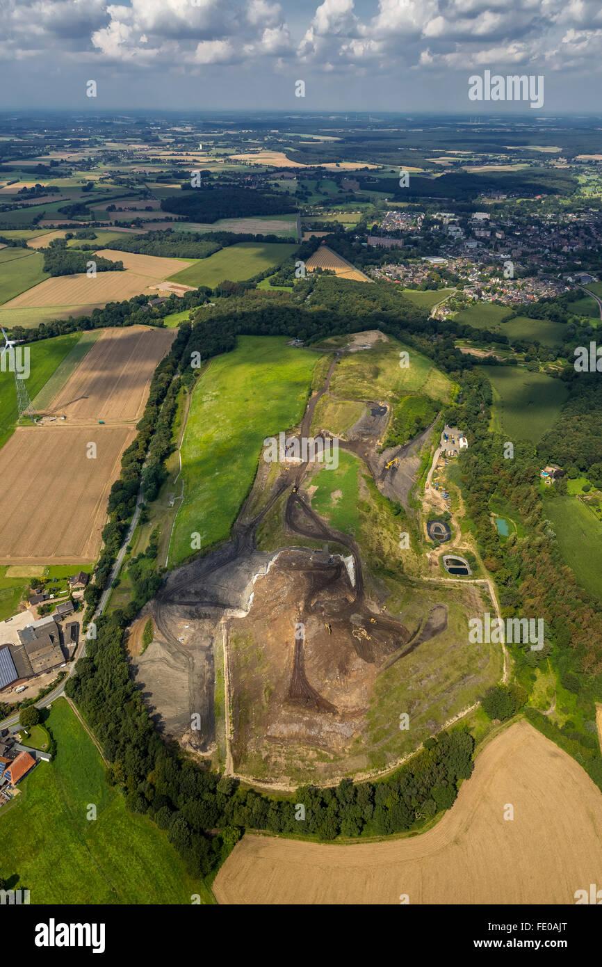 Aerial view, Eyller Berg, landfill Eyller Berg, waste dump, Kamp-Lintfort, Lower Rhine, North Rhine-Westphalia, - Stock Image
