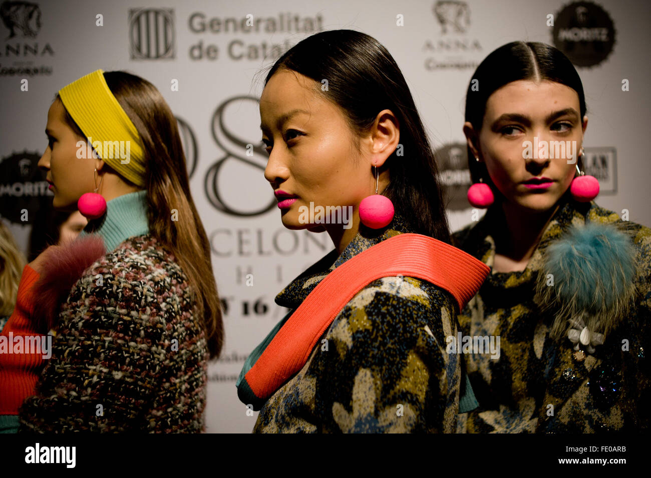 Barcelona, Spain. 3rd February, 2016. Models dressed in Naulover design are seen moments before going to catwalk - Stock Image