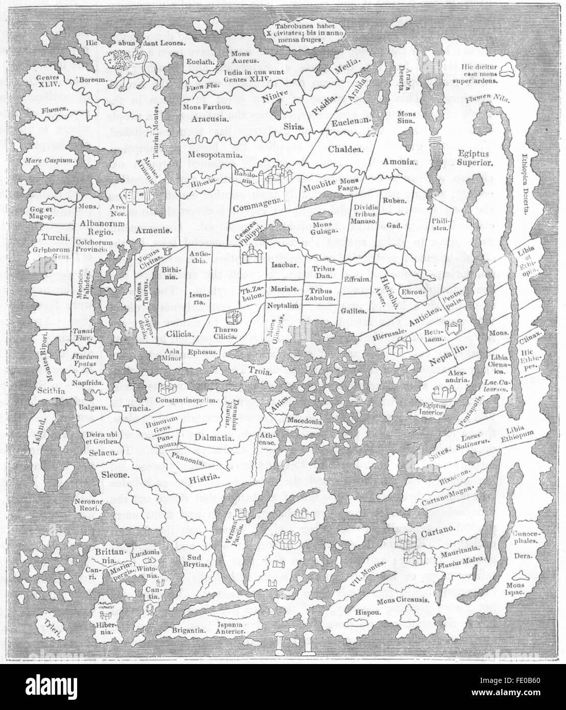MAPS: Saxon 10th Century: Pillars of Hercules, 1845 - Stock Image
