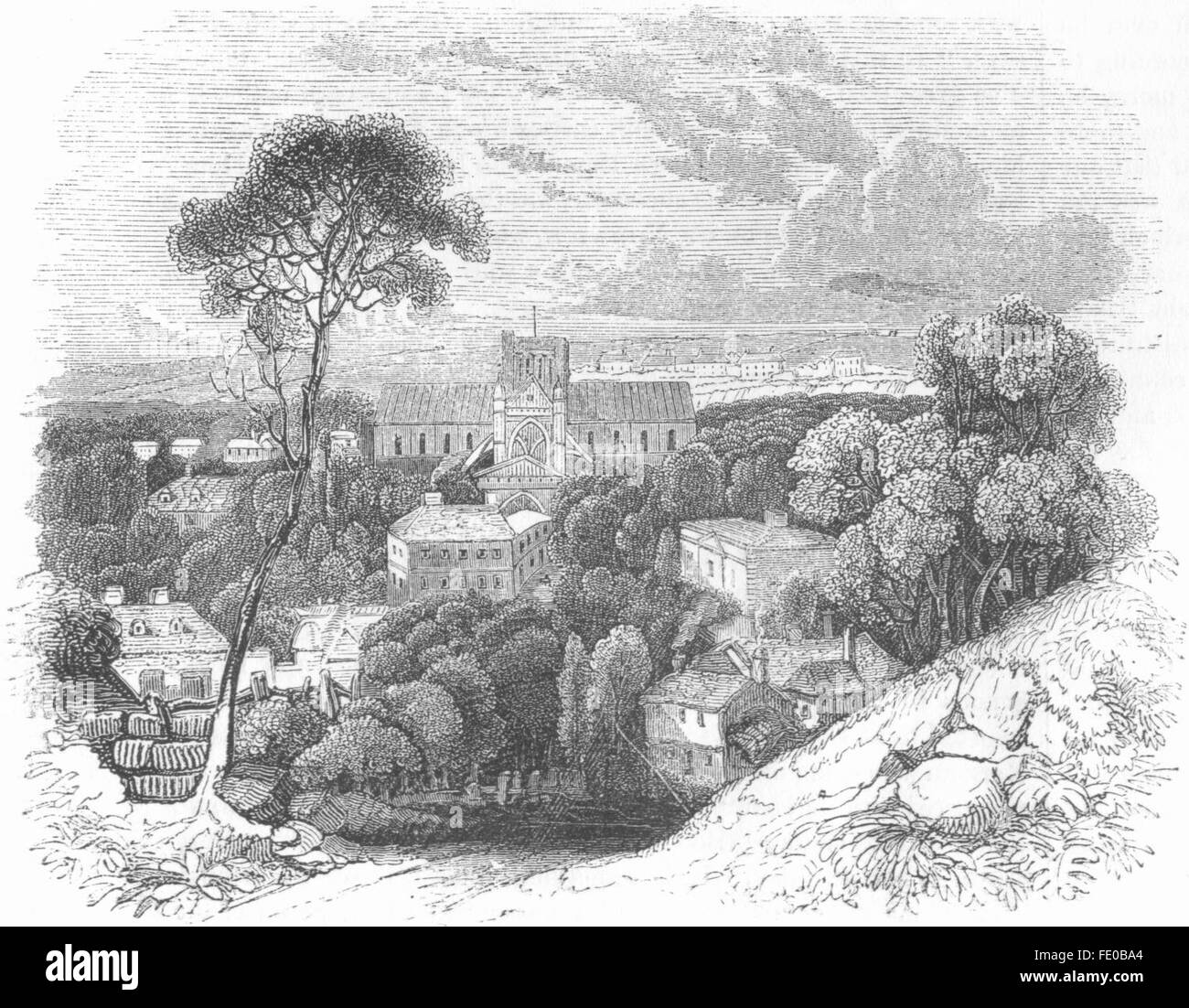 HANTS: Winchester, antique print 1845 - Stock Image