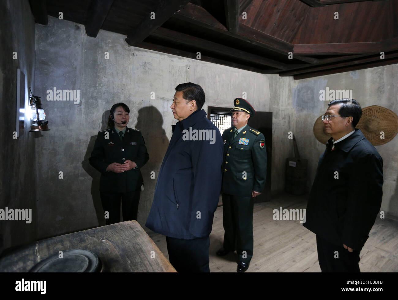Nanchang, China's Jiangxi Province. 2nd Feb, 2016. Chinese President Xi Jinping (2nd L), also general secretary - Stock Image