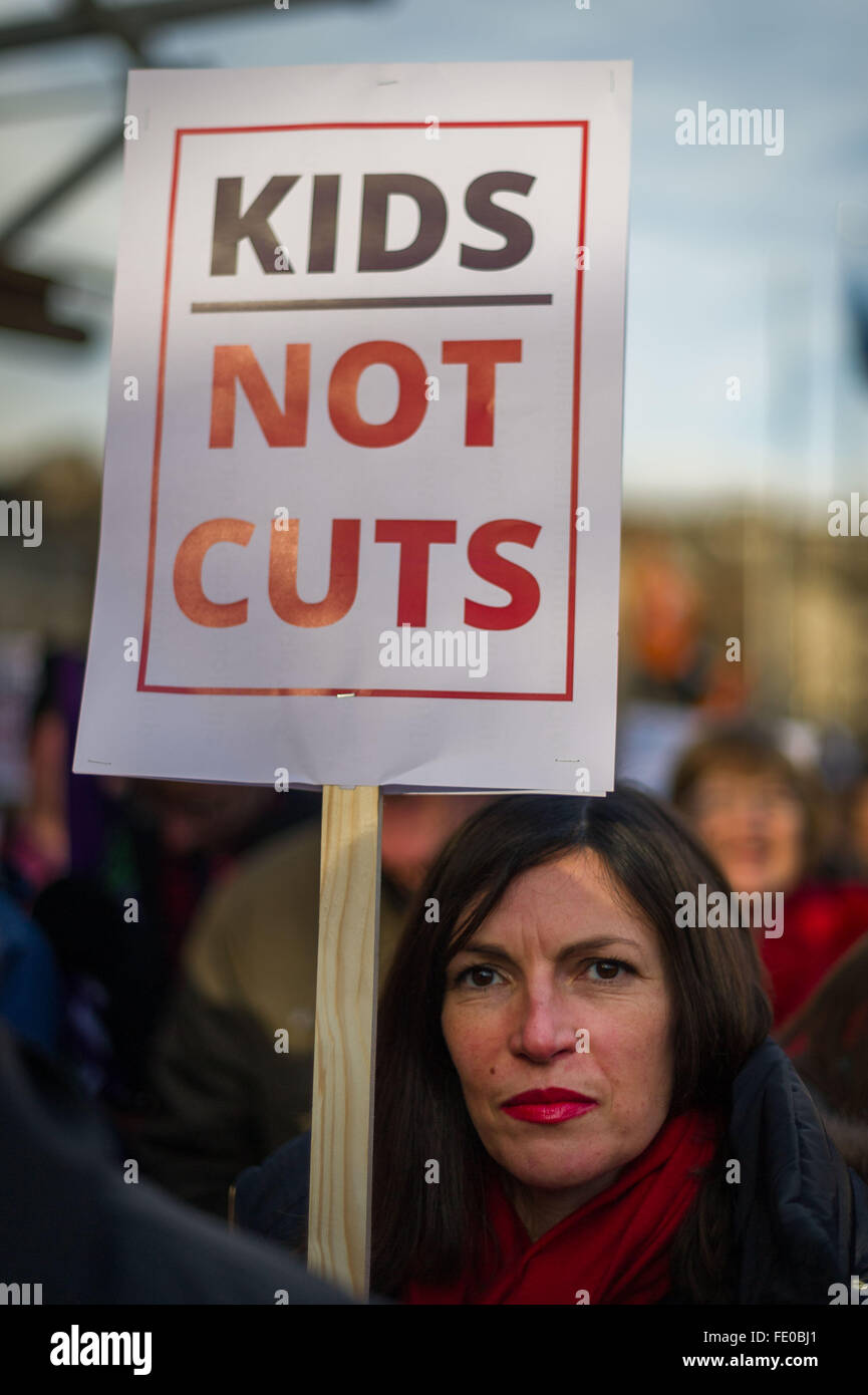 Edinburgh, Scotland, UK. 3rd February, 2016. Scottish Local Government Cuts, Day of Action protesters outside the - Stock Image