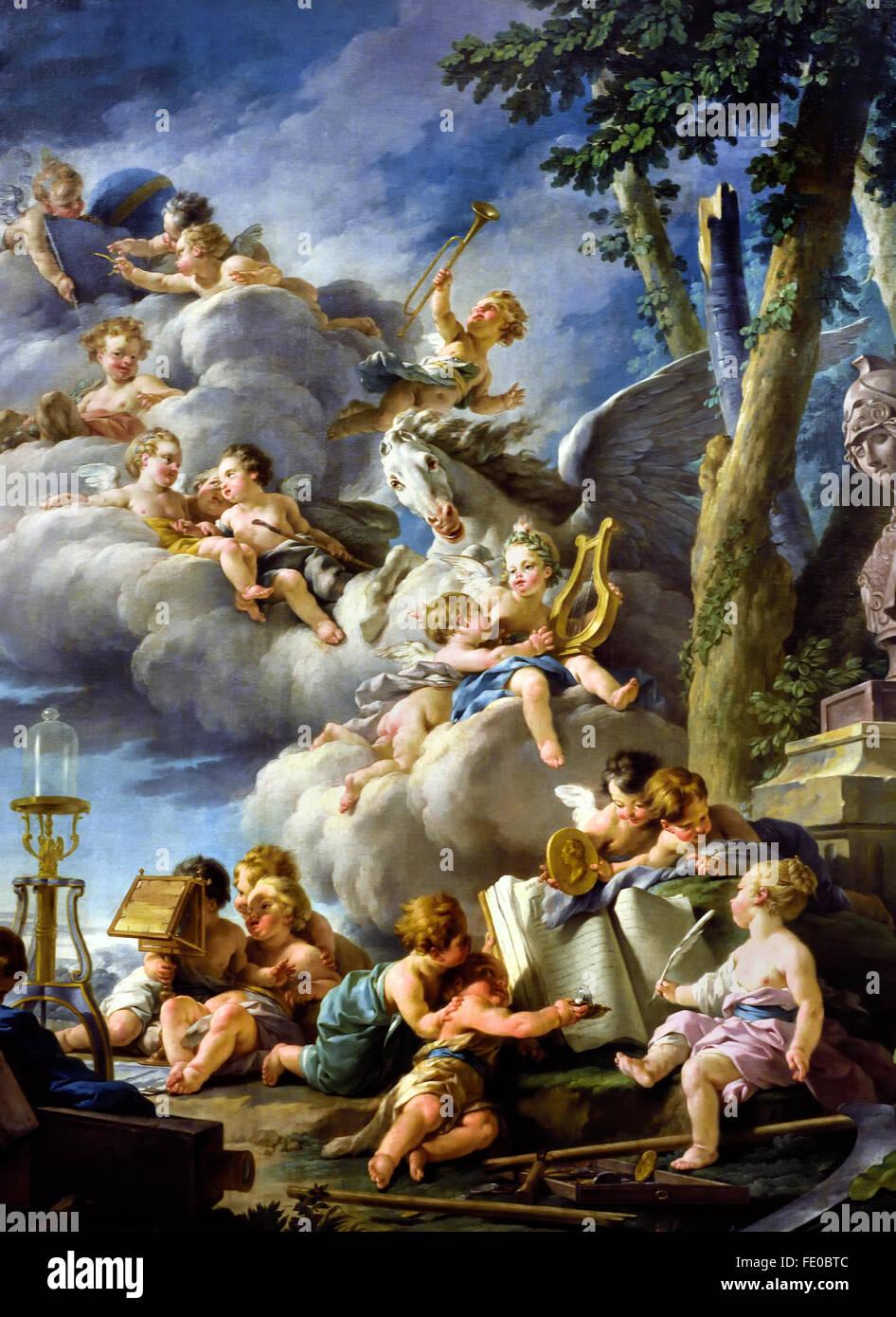 Les génies des sciences, de la poésie, de l'Histoire, de la Physique et de l'Astronomie - The - Stock Image