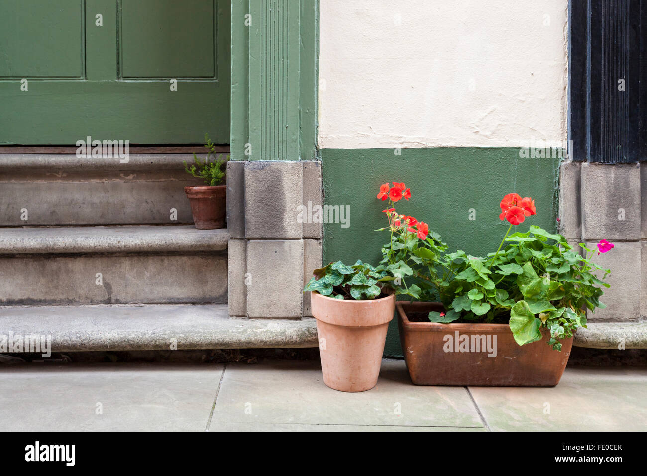 Pot plants on the pavement and in a doorway, Nottingham, England, UK - Stock Image