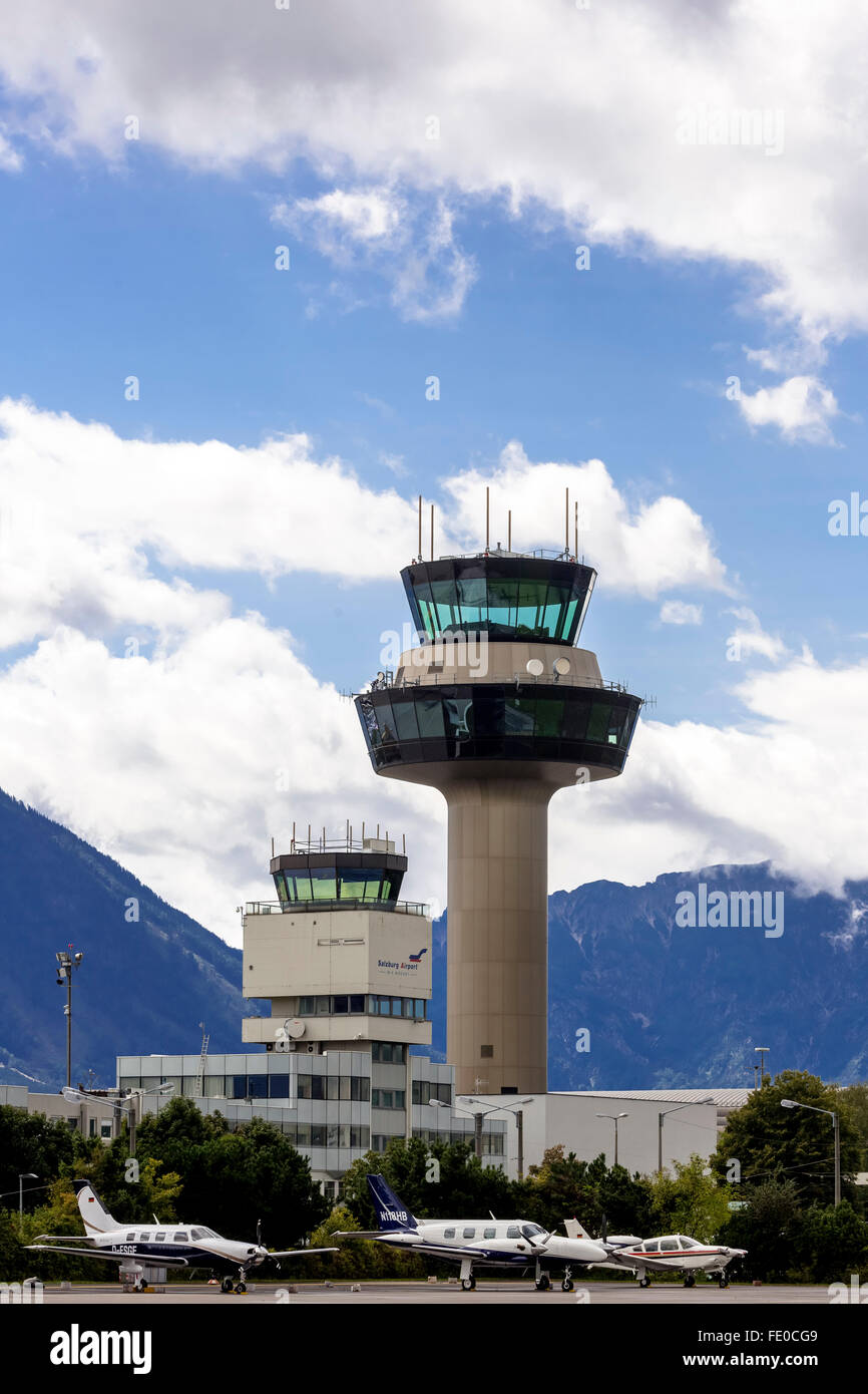 Tower from the airport, air traffic control, radar controller, Salzburg, Salzburg, Salzburg, Austria, Europe, Aerial - Stock Image