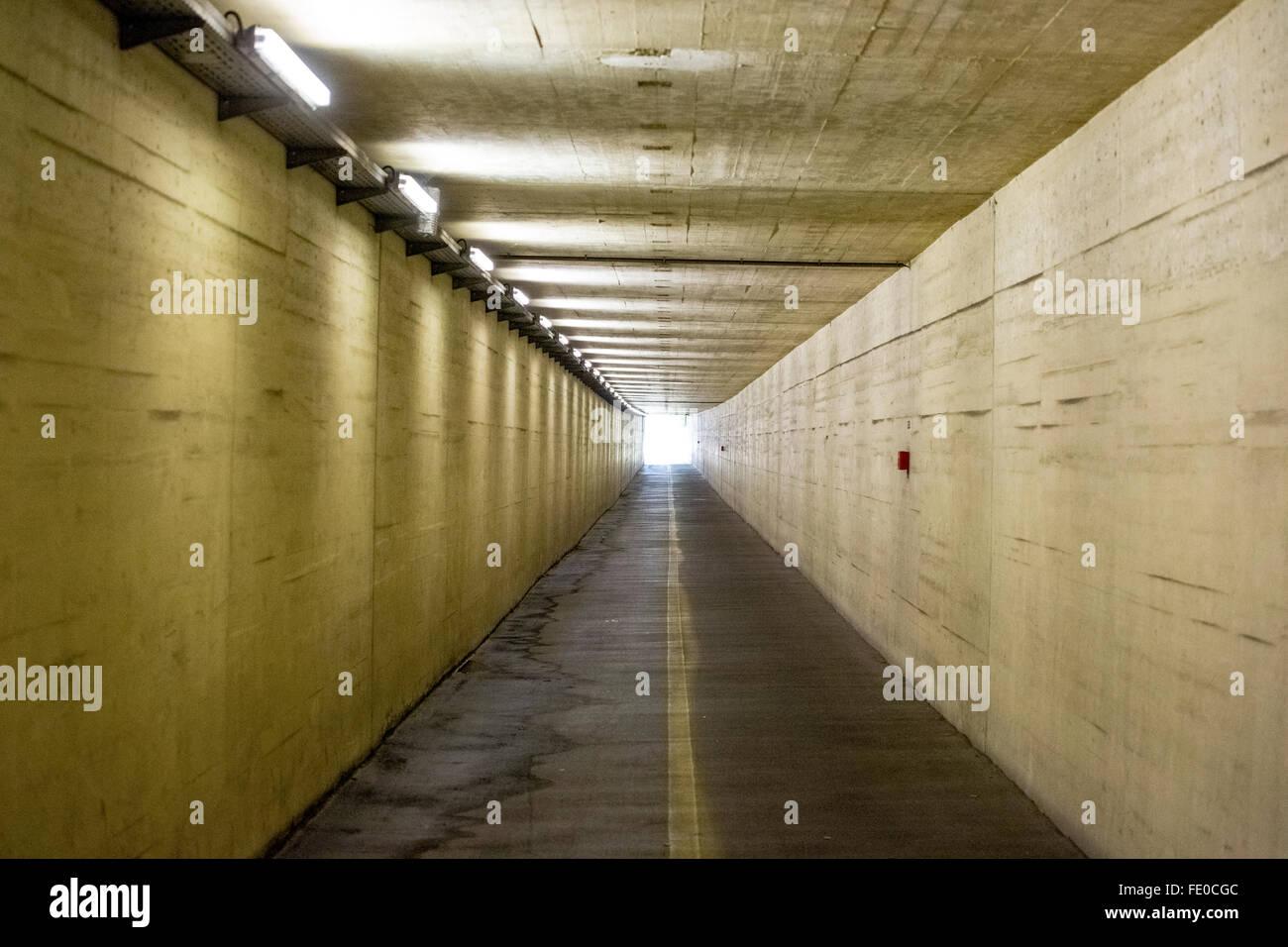 Tunnel, Flughafentunnel Salzburg, Tunnel anxiety, Salzburg, Salzburg, Austria, Europe, Aerial view, birds-eyes view, - Stock Image