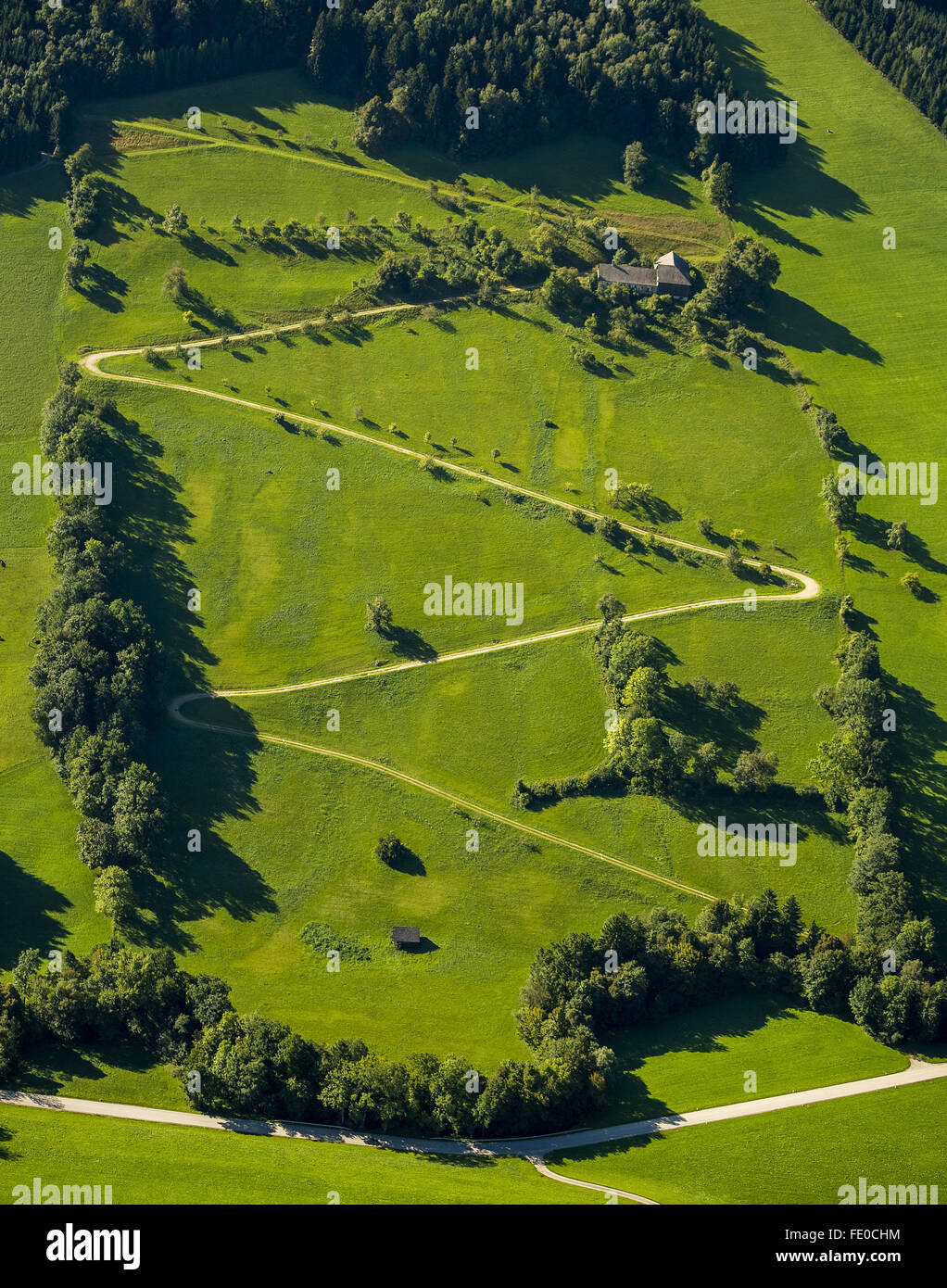 Aerial view, serpentine in the foothills, foothills with green meadows, Waidhofen an der Ybbs, Lower Austria, Austria, - Stock Image