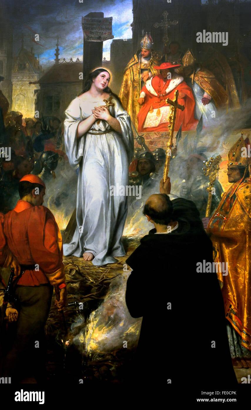 La mort de Jeanne d'Arc - The death of Joan of Arc 1831 Eugène Devéria (1805-1865) France ( The Maid - Stock Image