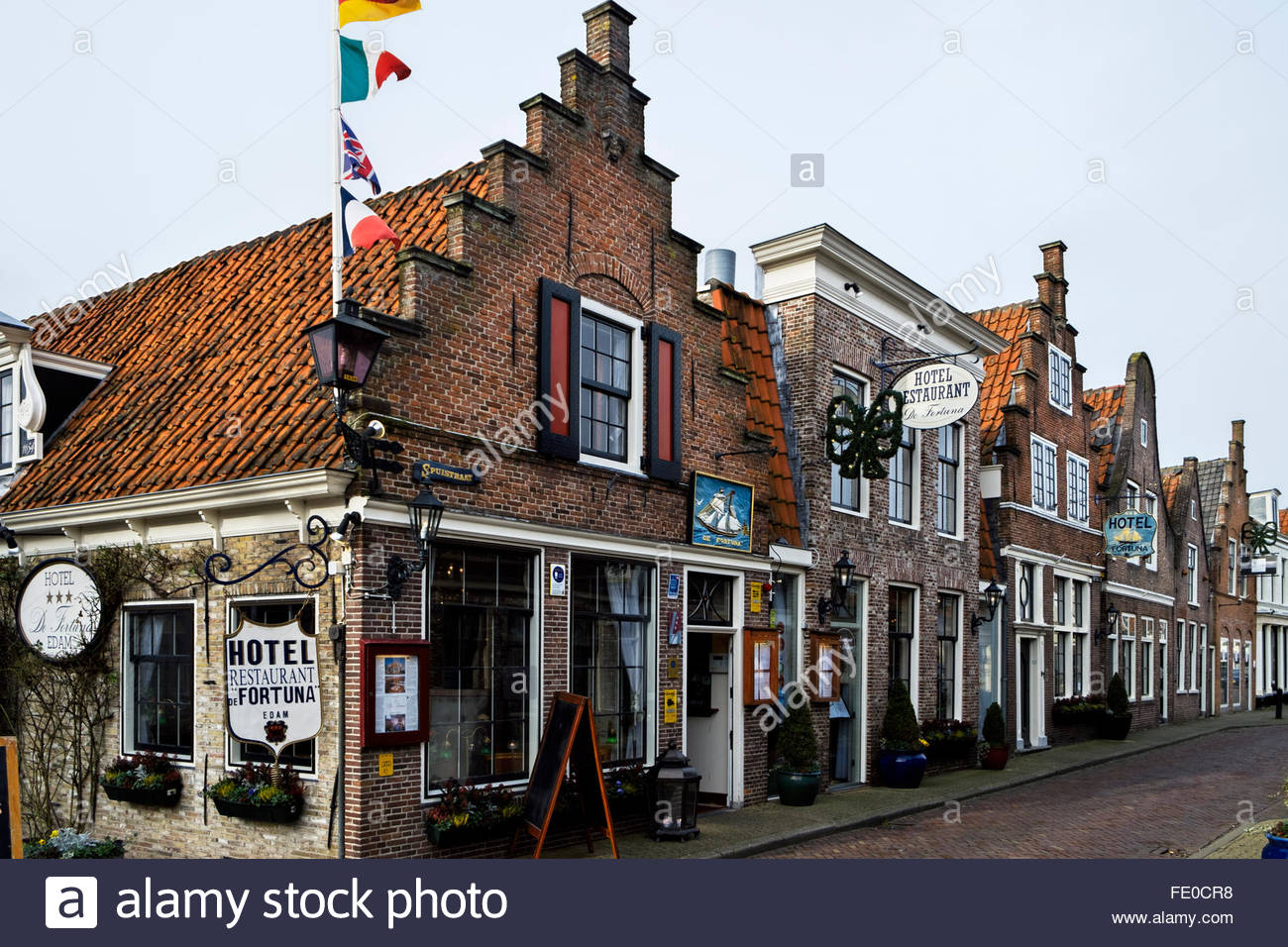 Hotel-Café-Restaurant De Fortuna is set in a 17th-century townhouse on  Spuistraat in Edam, North Holland, - Stock Image