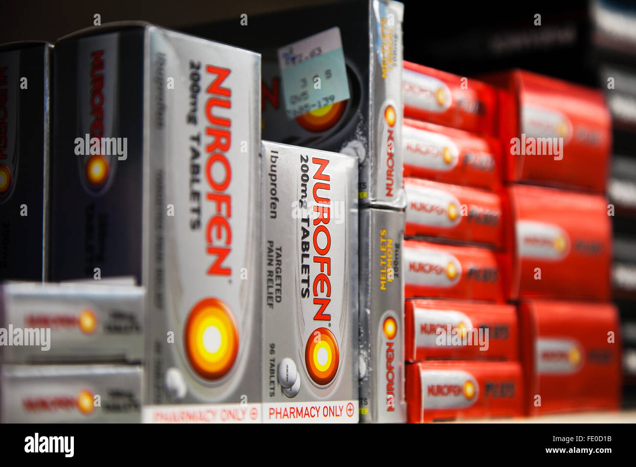 14th December 2015 -- An Australian court has ordered products in the Nurofen pain relief range off the shelves. - Stock Image