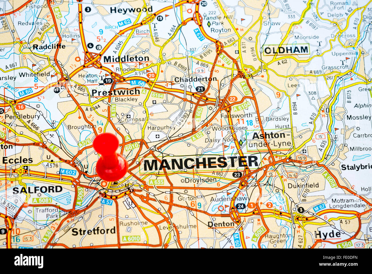 Map pin marking Manchester City, United Kingdom. - Stock Image