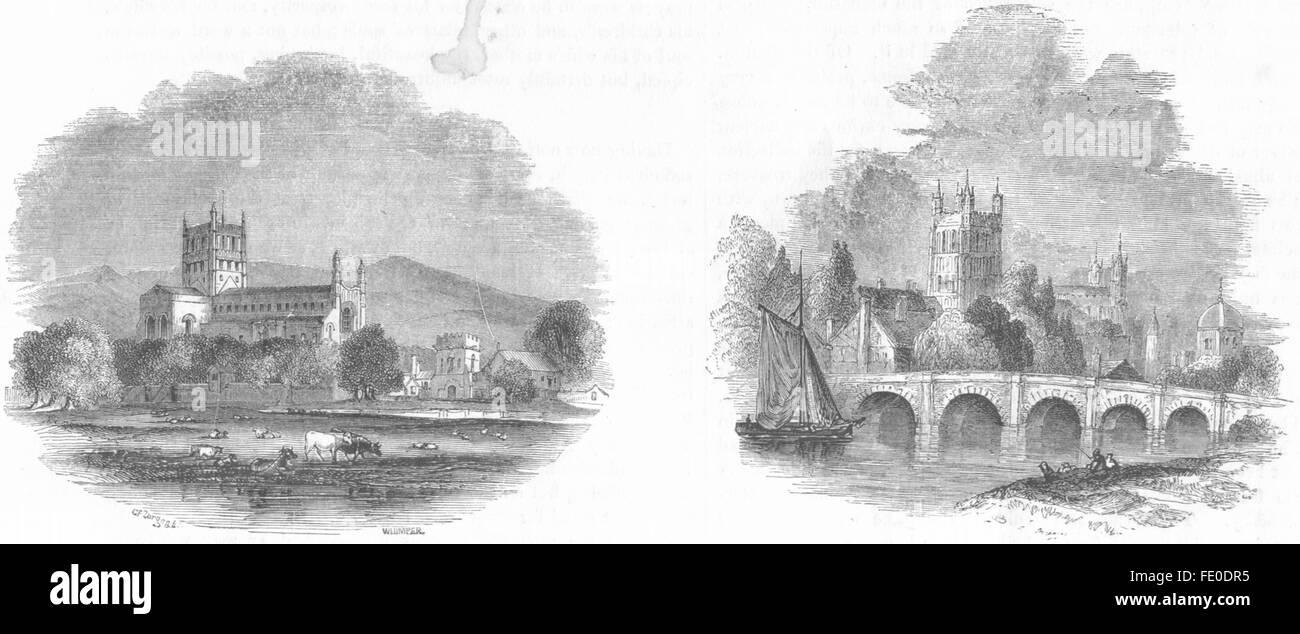 GLOS: Tewkesbury ; Tewkesbury, antique print 1845 - Stock Image