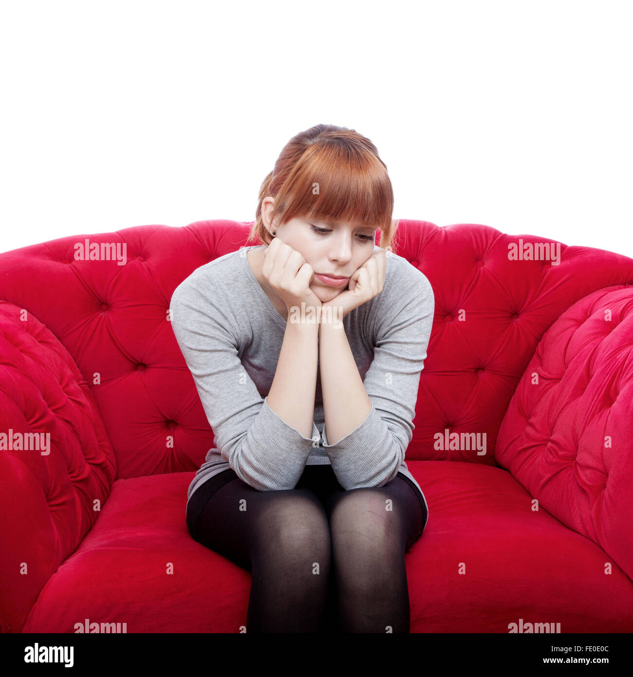 Fabulous Young Beautiful Red Haired Girl Sit Alone On Red Sofa In Squirreltailoven Fun Painted Chair Ideas Images Squirreltailovenorg