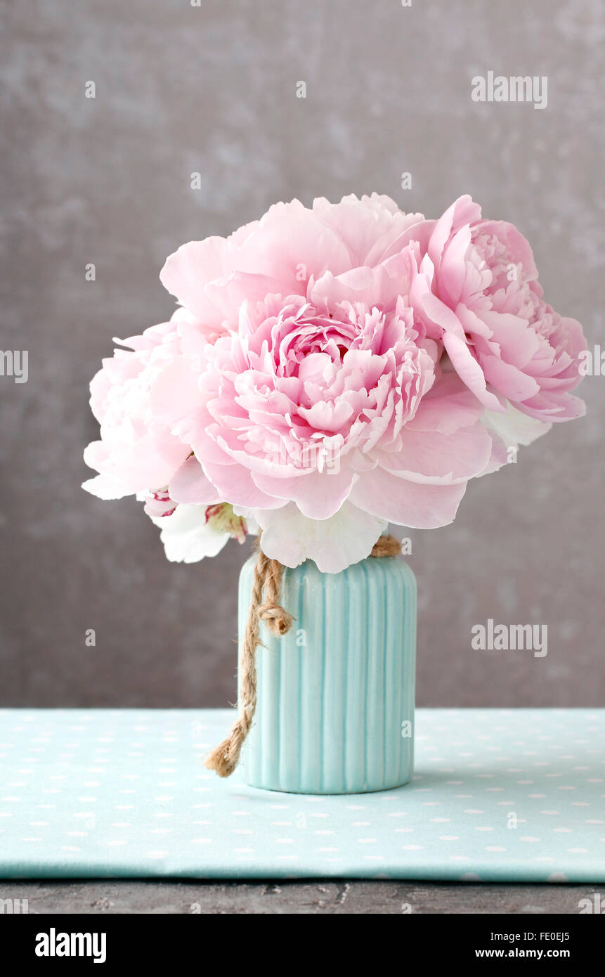 Pink Peony Flowers In Blue Ceramic Vase Grey Background Copy Space Stock Photo Alamy