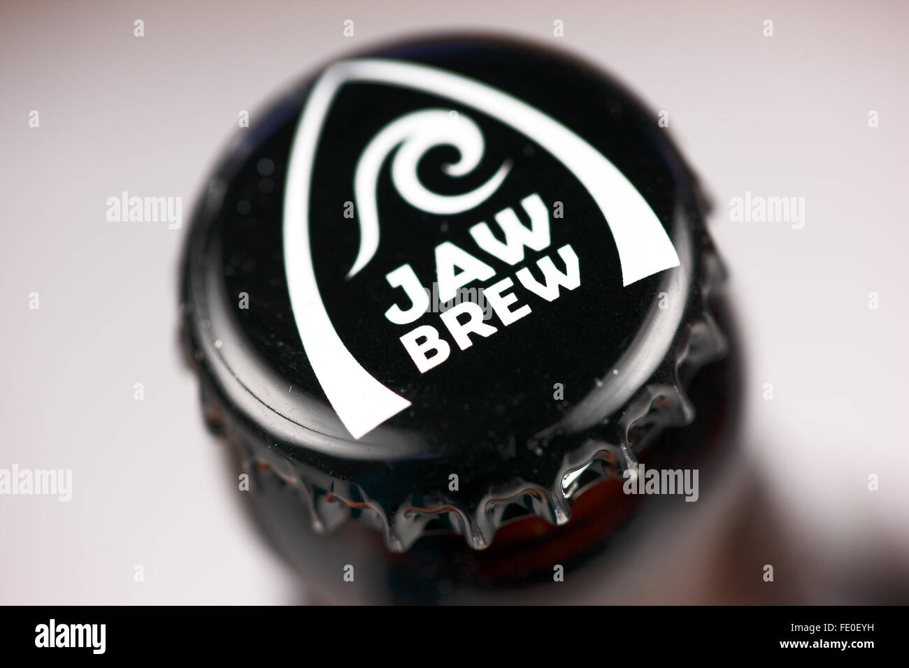 Bottle lid of Jaw Brew from the Glasgow based Real Ale Craft Brewery - Stock Image