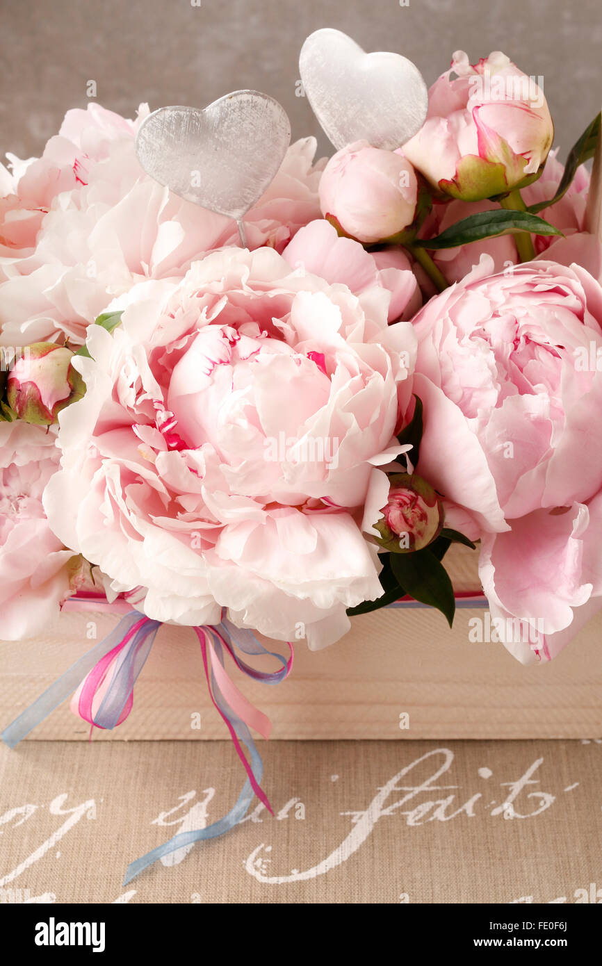 Peonies in wooden box - Stock Image