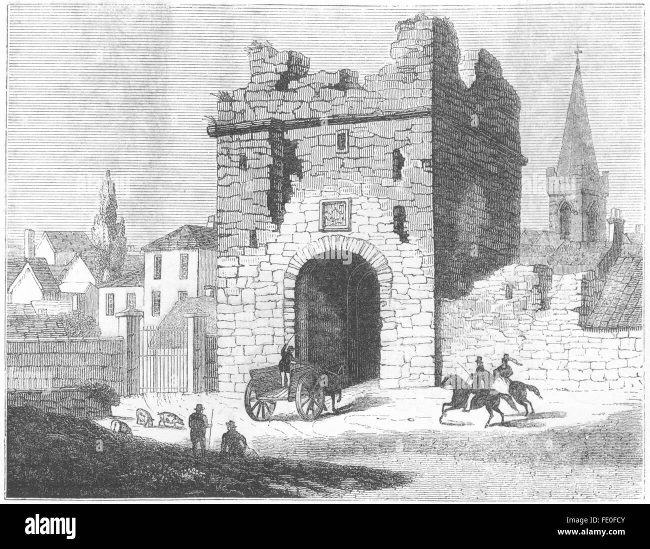 IRELAND: North gate, Athlone, Leinster, antique print 1845 - Stock Image
