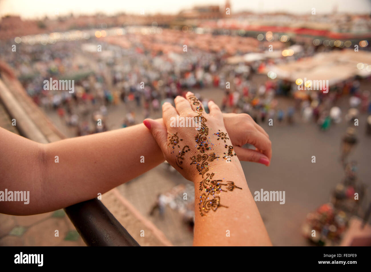 Hand with Henna Tattoo, Djemaa el-Fna, Marrakesh, Morocco - Stock Image