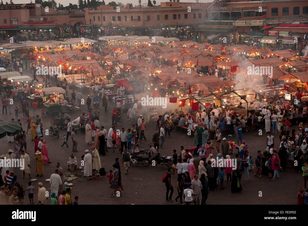 Djemaa el-Fna, Marrakesh, Morocco Stock Photo