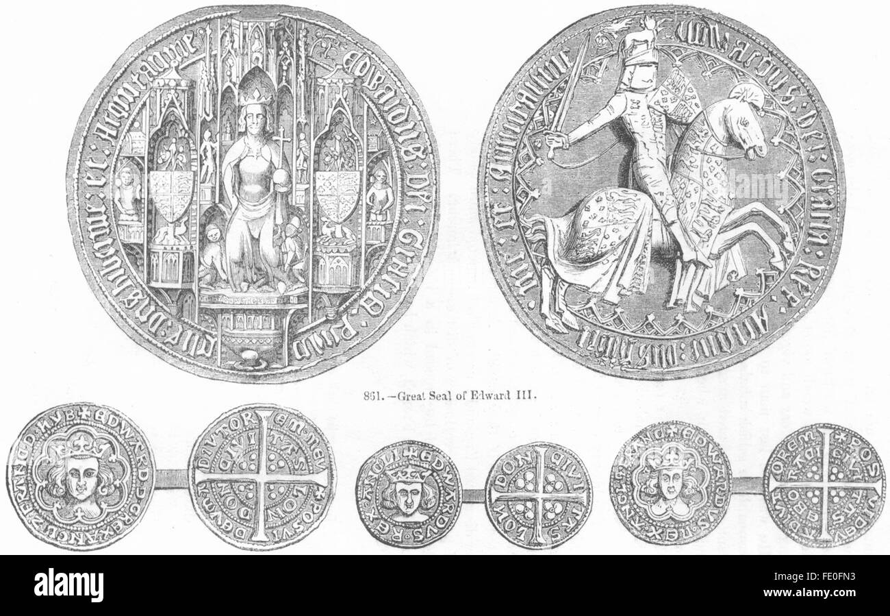 DECORATIVE: Seal of Edward III; Groat; Penny; Half-, antique print 1845 - Stock Image