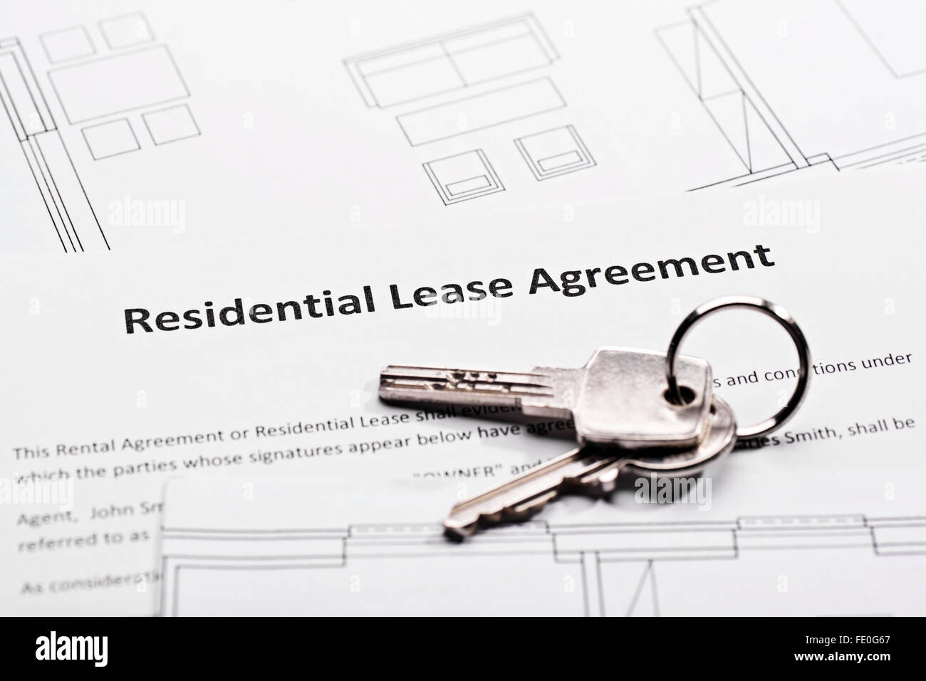 Residential lease agreement - Stock Image