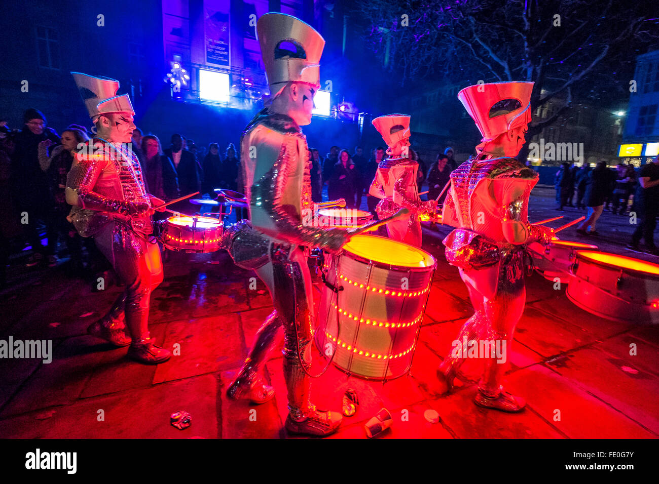 LED Drummers and Street Entertainers (Spark Drummers from Newcastle) performing in Preston - Stock Image