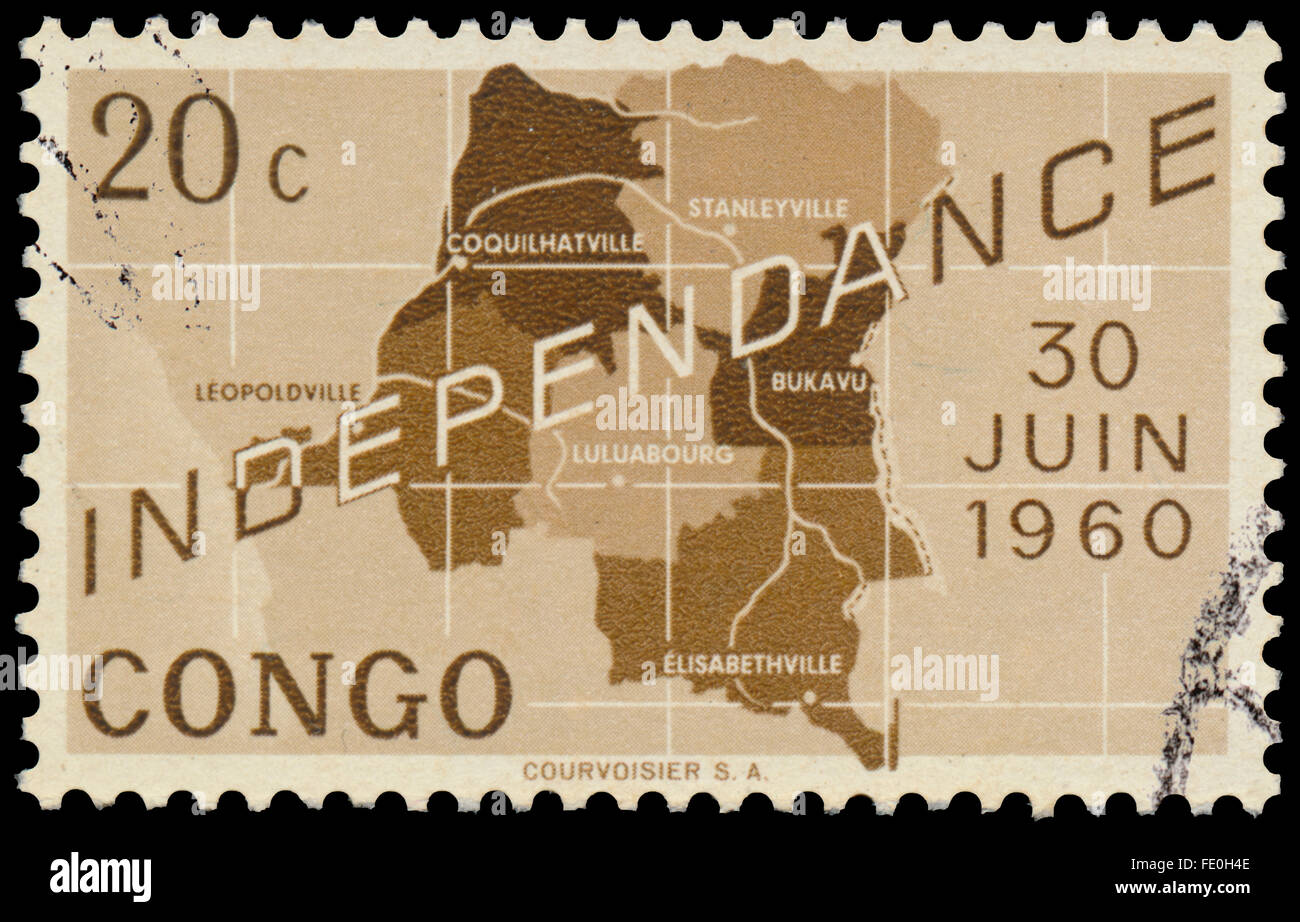 CONGO - CIRCA 1960: a stamp printed in the Republic of Congo, shows map of independent Republic of Congo - Stock Image