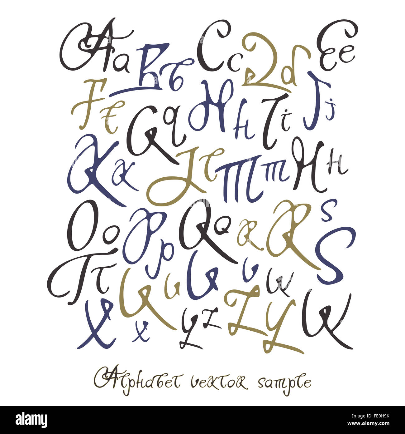 Handwritten Calligraphy Full Latin Alphabet With Sample Text Words