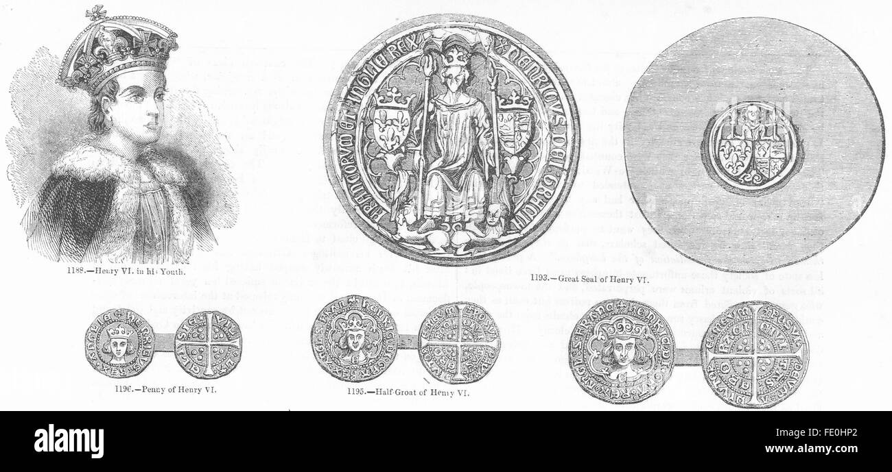 HENRY VI: Seal; Penny; Half-Groat; , antique print 1845 - Stock Image
