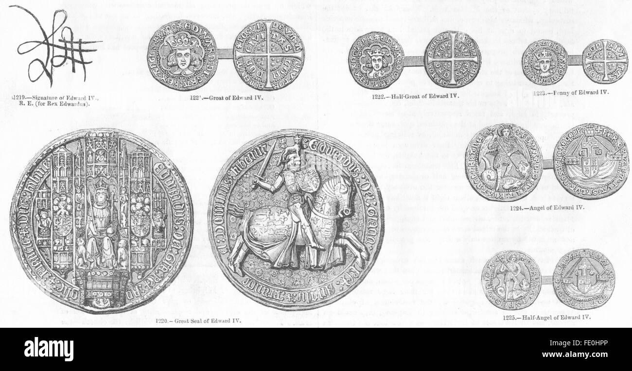 EDWARD IV: Signature; Groat; Half-; Penny; Seal; Angel; -, antique print 1845 - Stock Image