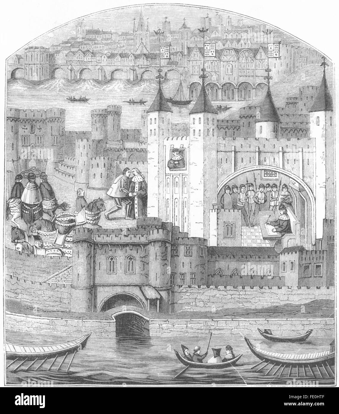 LONDON: The Tower in the 15th Century, antique print 1845 - Stock Image