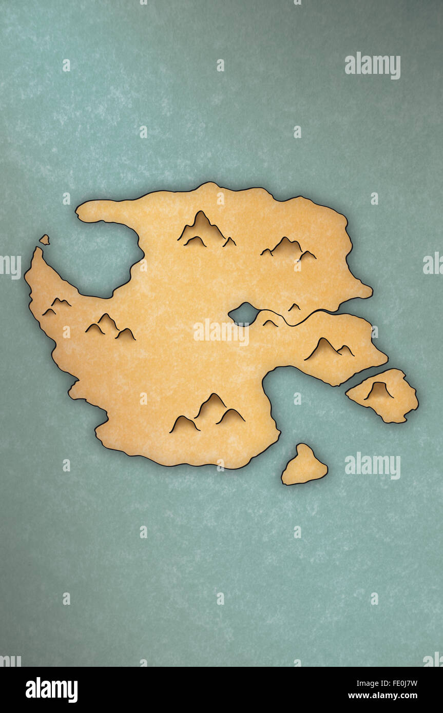 Antiquelooking Map Of An Island On Papyruslike Paper Stock Photo - Antique looking maps