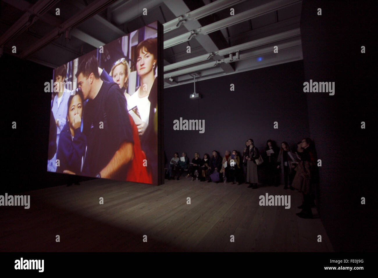 New York City, NY, USA. 3rd February, 2016. An installation showing the faces of people reacting to events on 9/11 - Stock Image