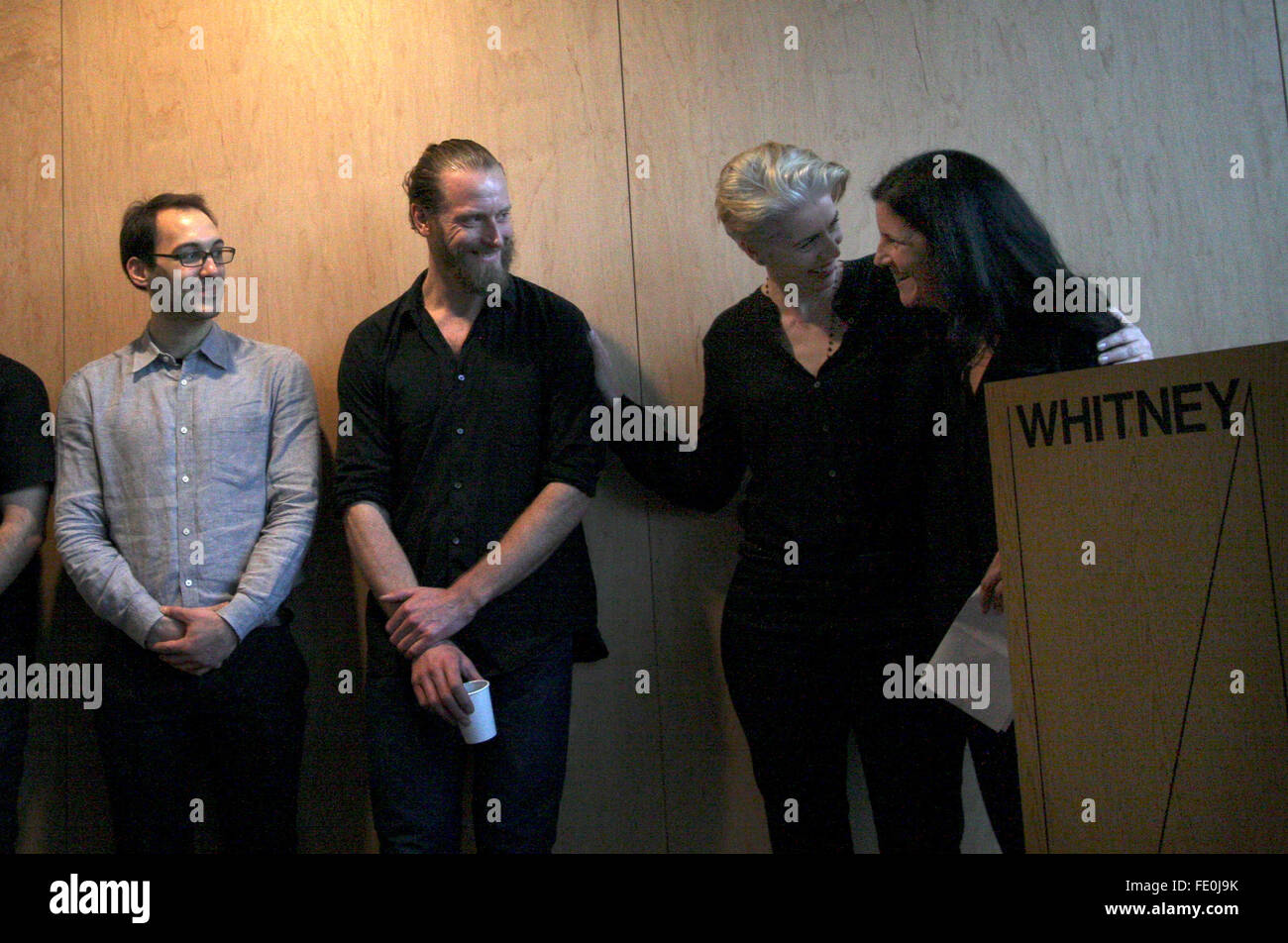 New York City, NY, USA. 3rd February, 2016. Laura Poitras is congratulated by her production team after making remarks - Stock Image