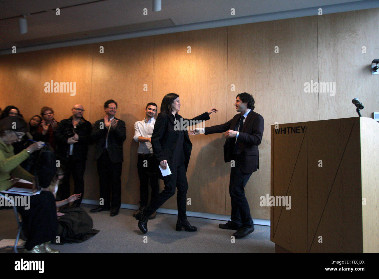 New York City, NY, USA. 3rd February, 2016. Laura Poitras being welcomed by Jay Sanders, Curator and Curator of - Stock Image