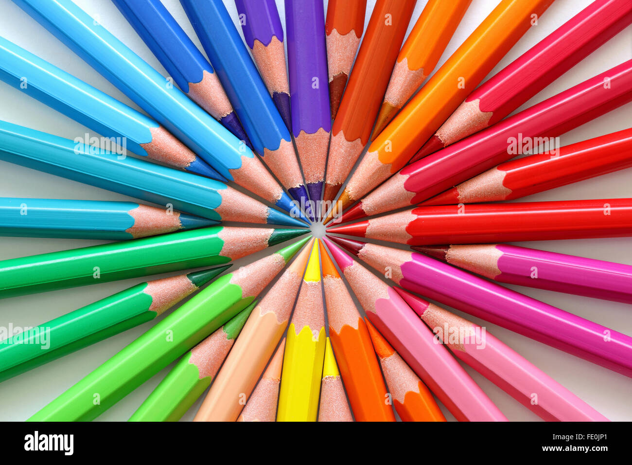 Macro of colored pencils in a circle. - Stock Image