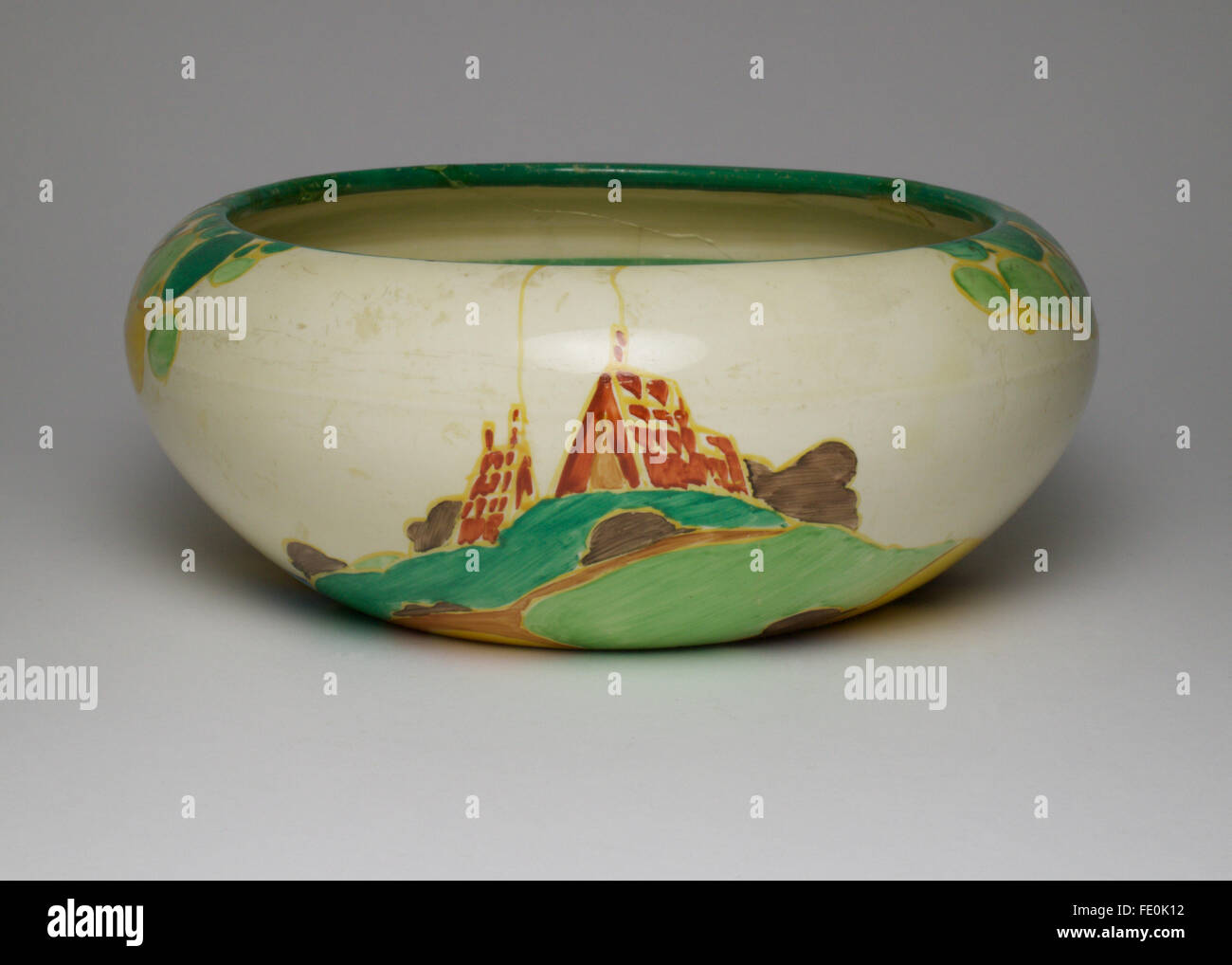 Art Deco Clarice Cliff Secrets pattern bowl. The bowl measures approximately 20cm in diameter and is 7.5cm high. Stock Photo