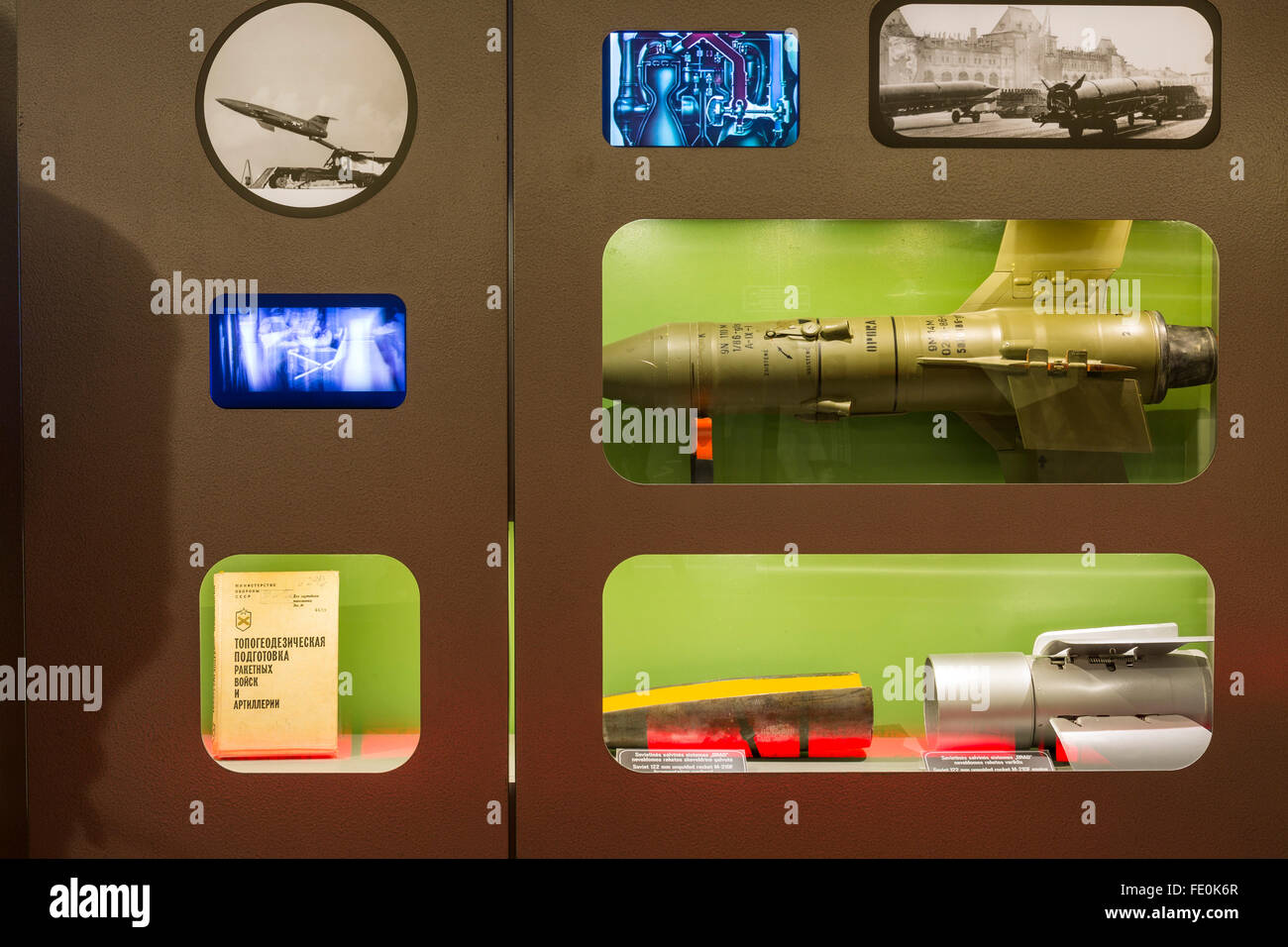 Nuclear armaments on display at the Plokstine Nuclear Missile site, now Cold War museum, Lithuania. - Stock Image
