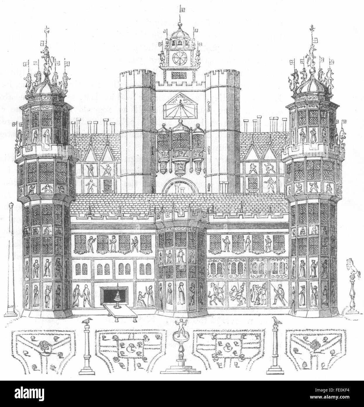 London NONSUCH HOUSE Original Victorian Print 1878
