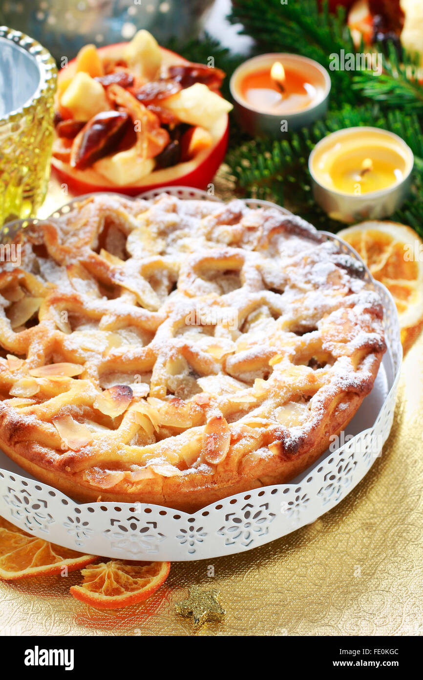 Christmas apple pie - Stock Image