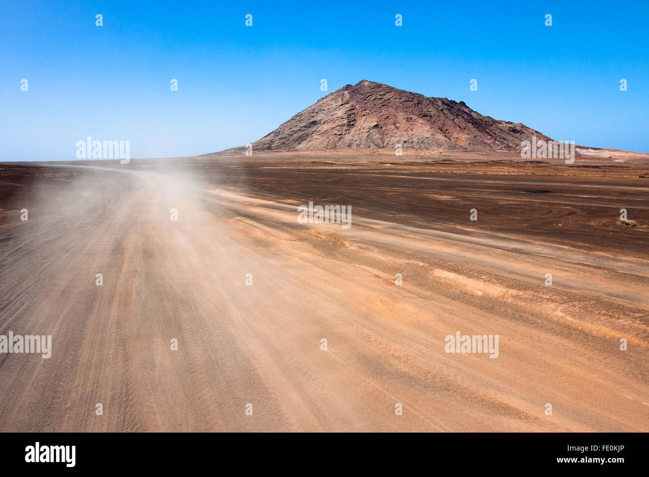 Sandy desert road on Sal Island, Cape Verde - Stock Image