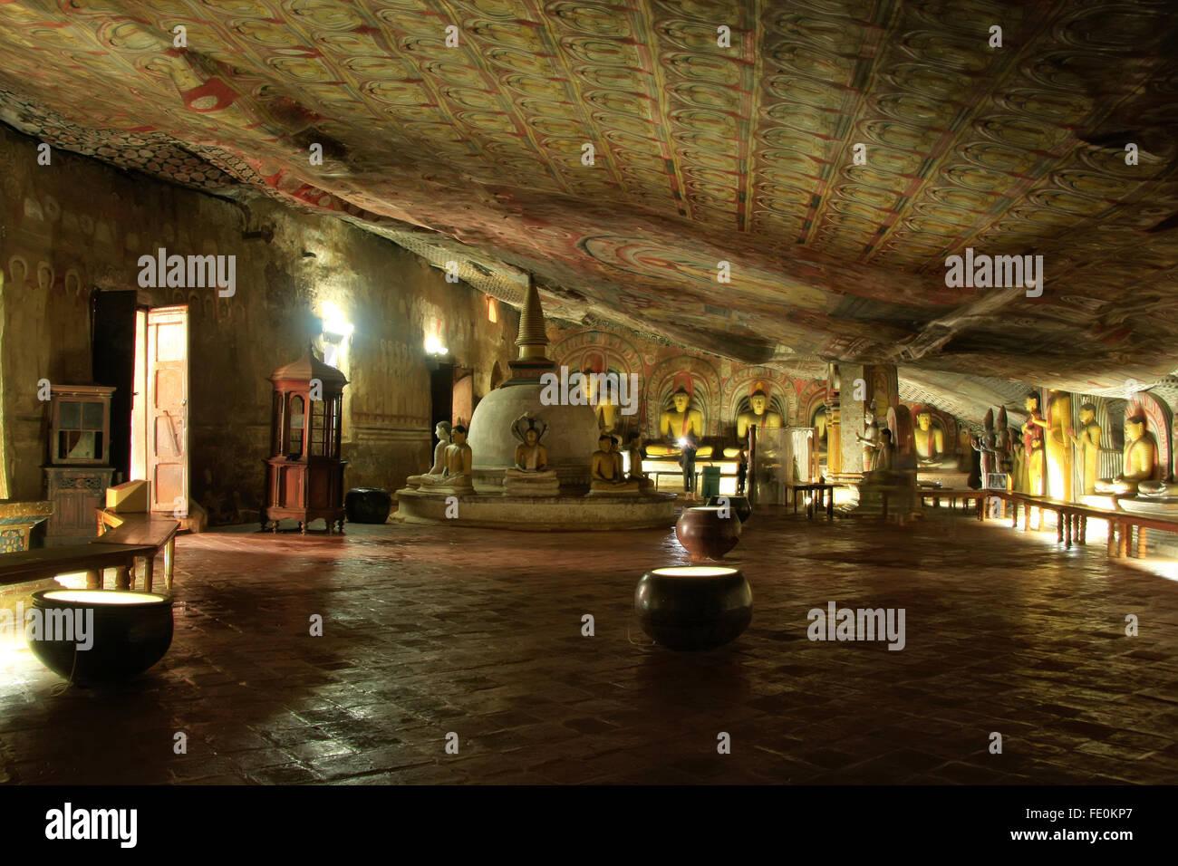 Interior Of Dambulla Golden Temple In Sri Lanka It Is The Largest Stock Photo Alamy